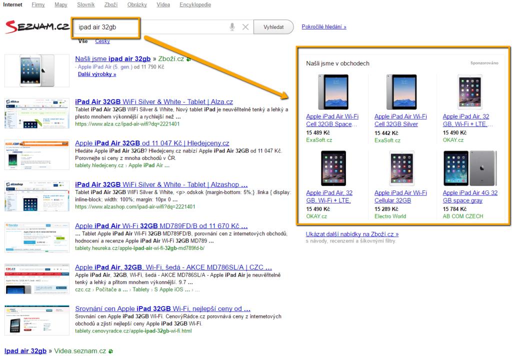 Ukázka produktových reklam v Skliku