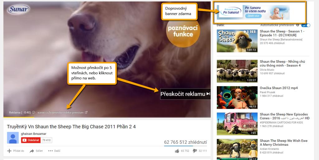 Ukázka TrueView reklam