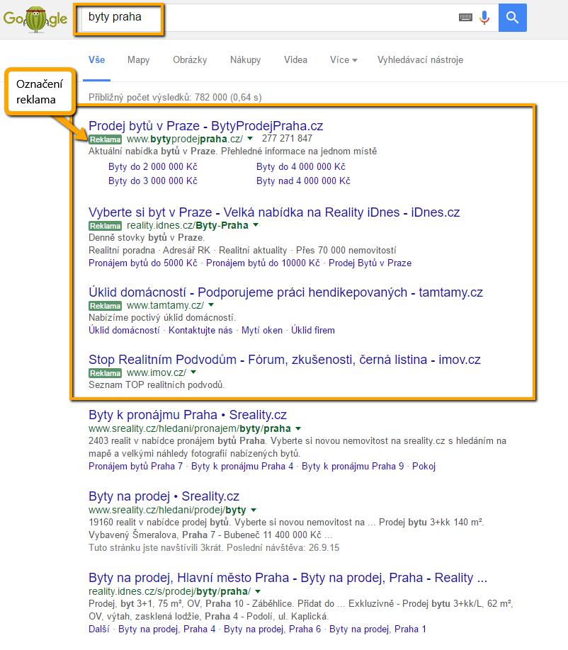 """Ukázka AdWords reklamy ve vyhledávání. Všimněte si, že zelené označení """"Reklama"""" již dnes téměř nelze rozpoznat od organikých výsledků."""